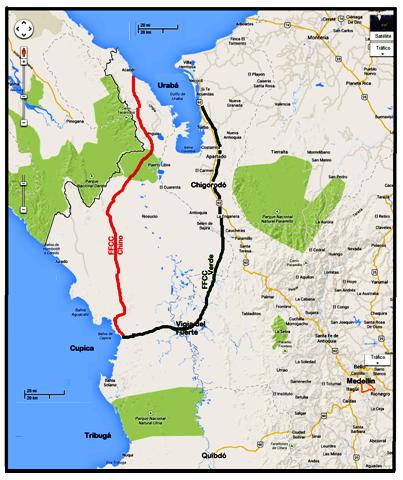 3 ferrocarril interoceanico verde (Der) y ferrocarril chino ( Izq)
