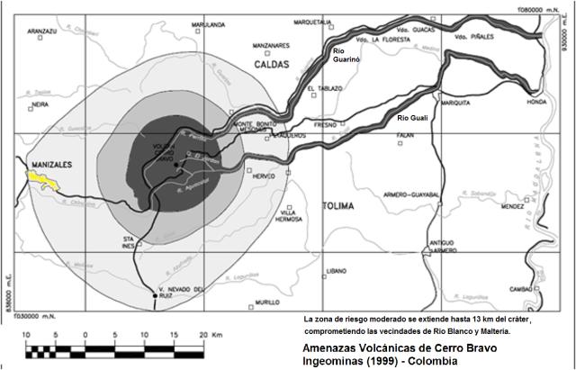 Volcan Cerro Bravo Colombia - mapa de amenazas volcanicas  Ingeominas