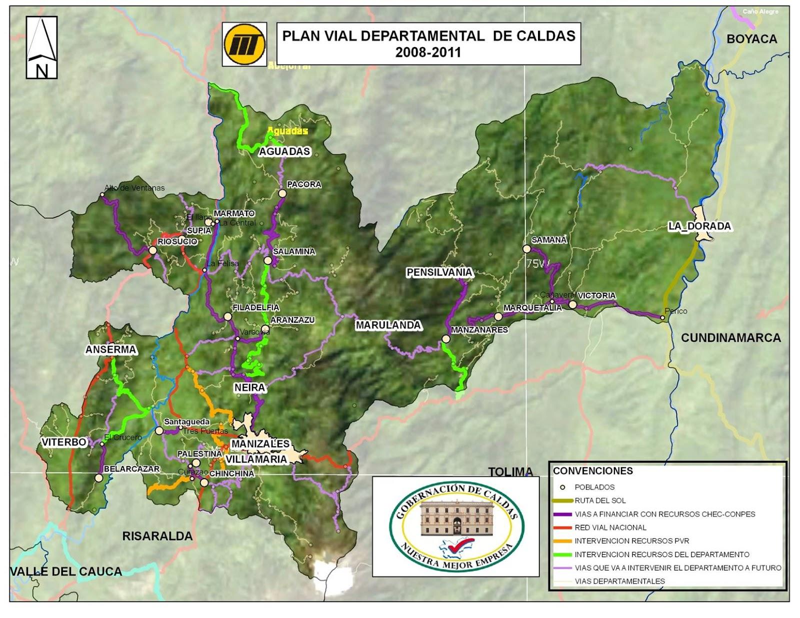 Mapas del Departamento de Caldas en Colombia  godues
