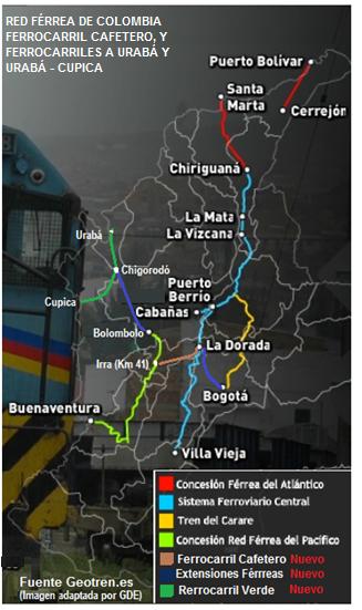 red férrea de colombia y ferrocarril cafetero