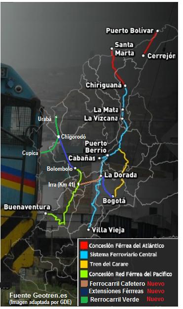 Tren FFCC ferreo Ferrocarril Colombia Railroad