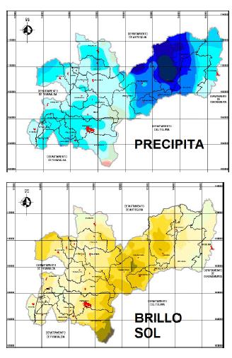 Caldas - Precipitacion y brillo solar