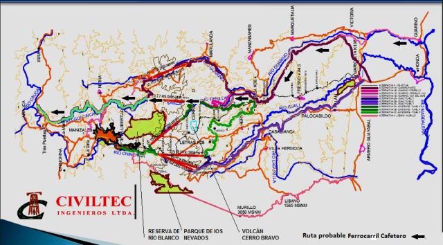 Ferrocarril Cafetero combinando  alternativas INVIAS