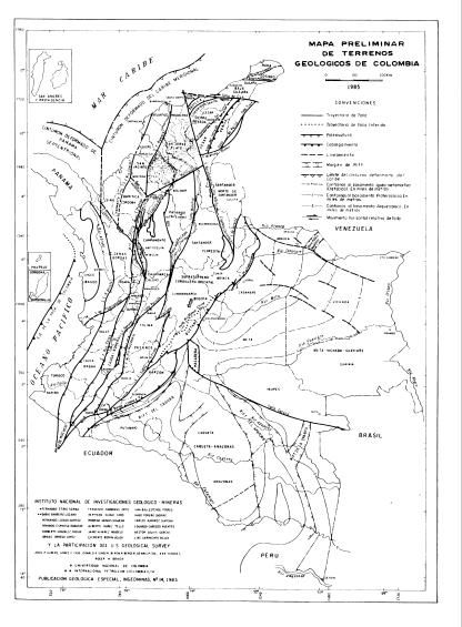 Mapa TERRENOS GEOLÓGICOS Colombia Estructural