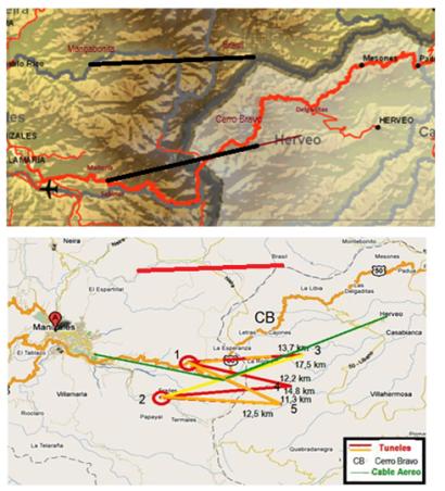 27 Opciones del Tunel Cumanday por el norte y sur de Cerro Bravo