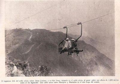 Cable Aéreo Manizales-Mariquita, en la foto Jaime Lindsay y su hija Irene