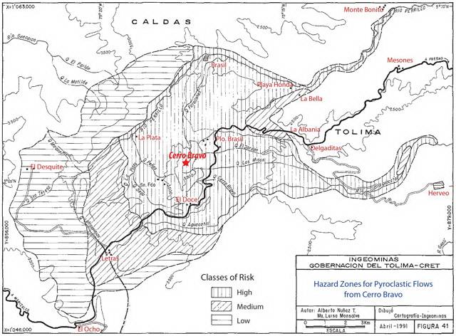 Volcan Cerro Bravo Colombia - Amenaza Flujos Piroclasticos