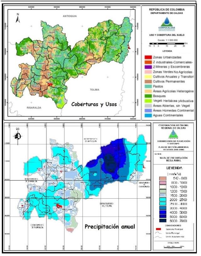 Caldas-  coberturas y usos - precipitacion anual
