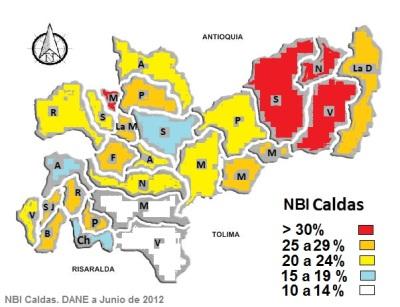 Mapa de NBI en Caldas - 2012