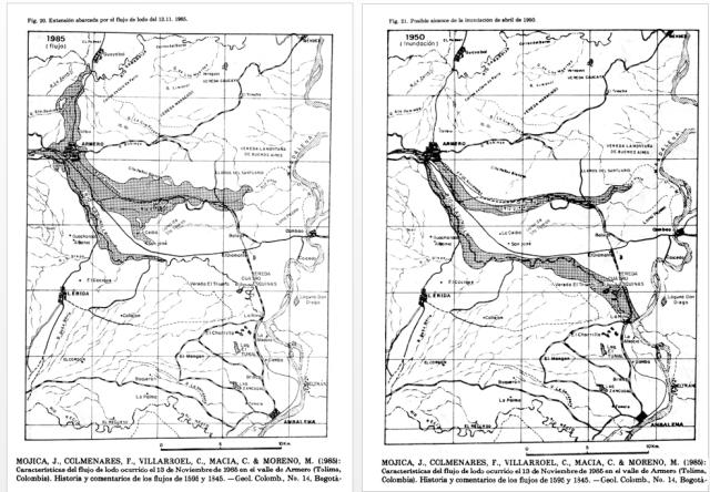 3- V del Ruiz - Flujos de lodo de 1950 y lahar de 1985, en Armero
