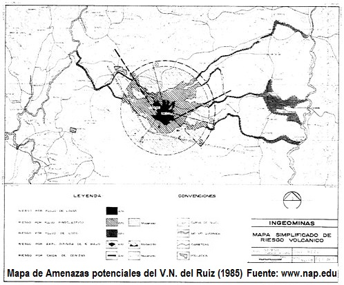 Volcano Ruiz- Risk Map, Ingeominas (1985 www.nap.edu)