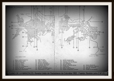 Plano de Manizales 1962 - Revista Letra 2.